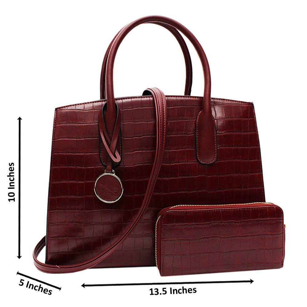 Burgundy Skye Croc Leather Medium Tote Handbag