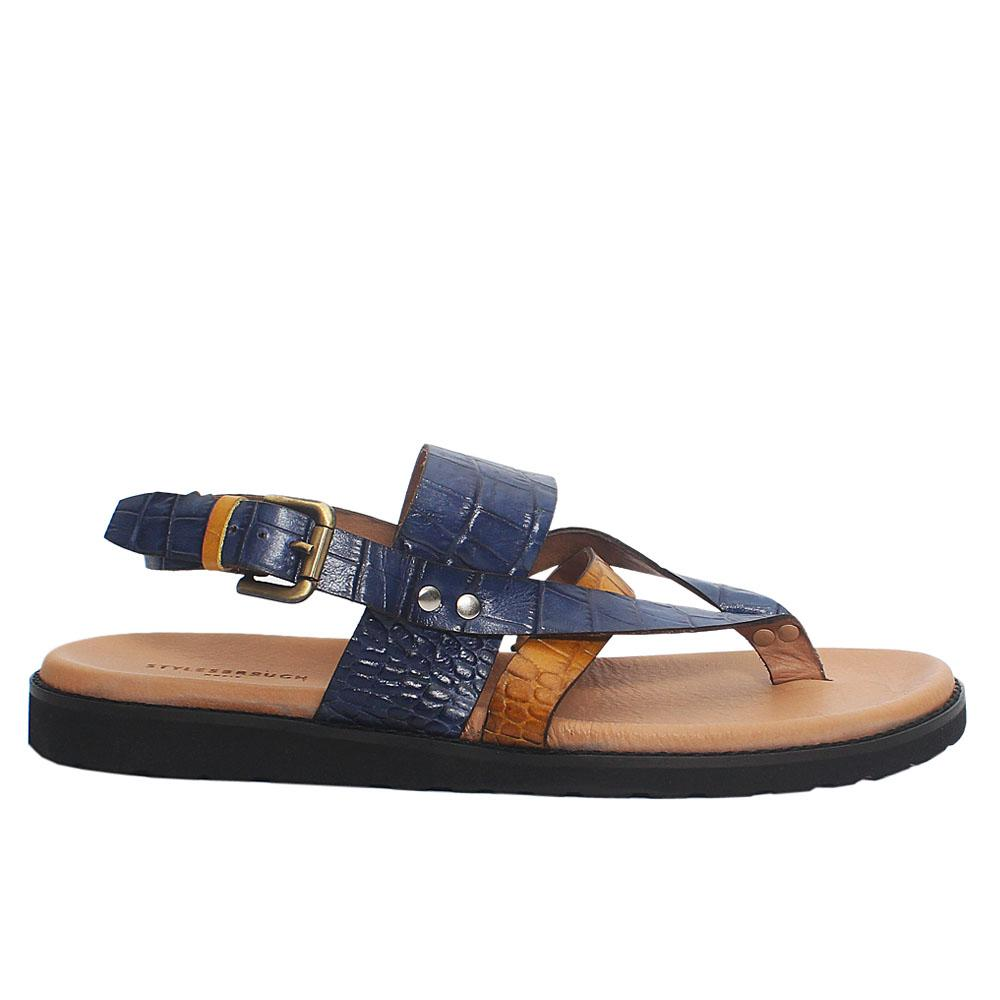 Blue Yellow Croco Italian Leather Men Sandals