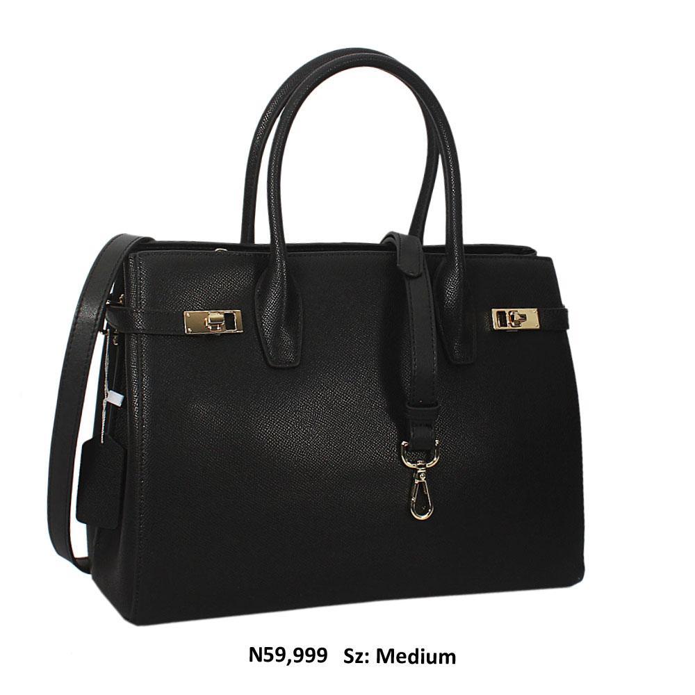 Nancy Black Cowhide Leather Tote Handbag