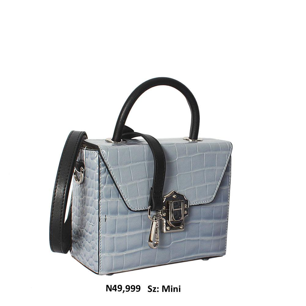 Aqua Blue Croc Cowhide Leather Mini Top Handle Handbag