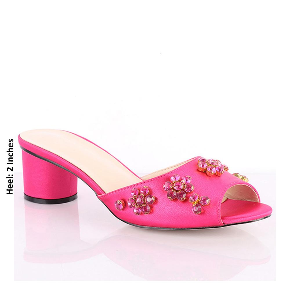Pink Fontana Studded Leather Low Heel Mule