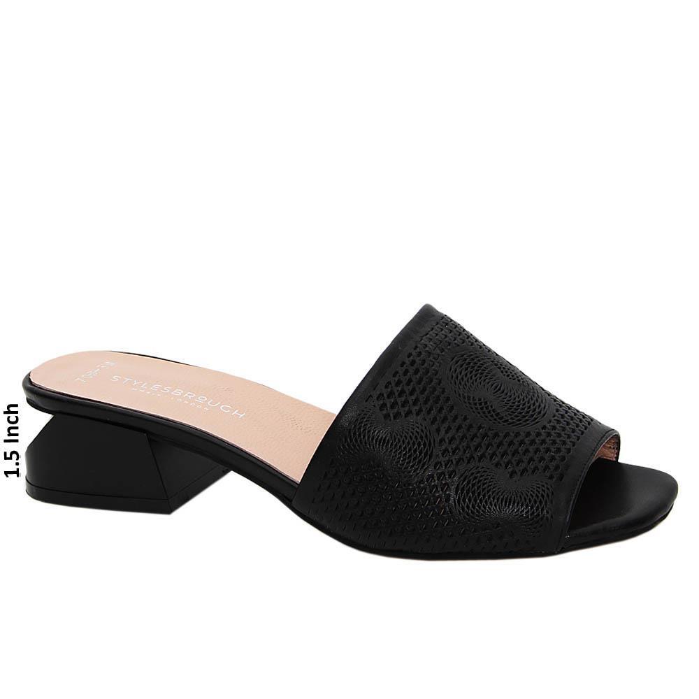 Black Angelina Tuscany Leather Mid Heel Mule