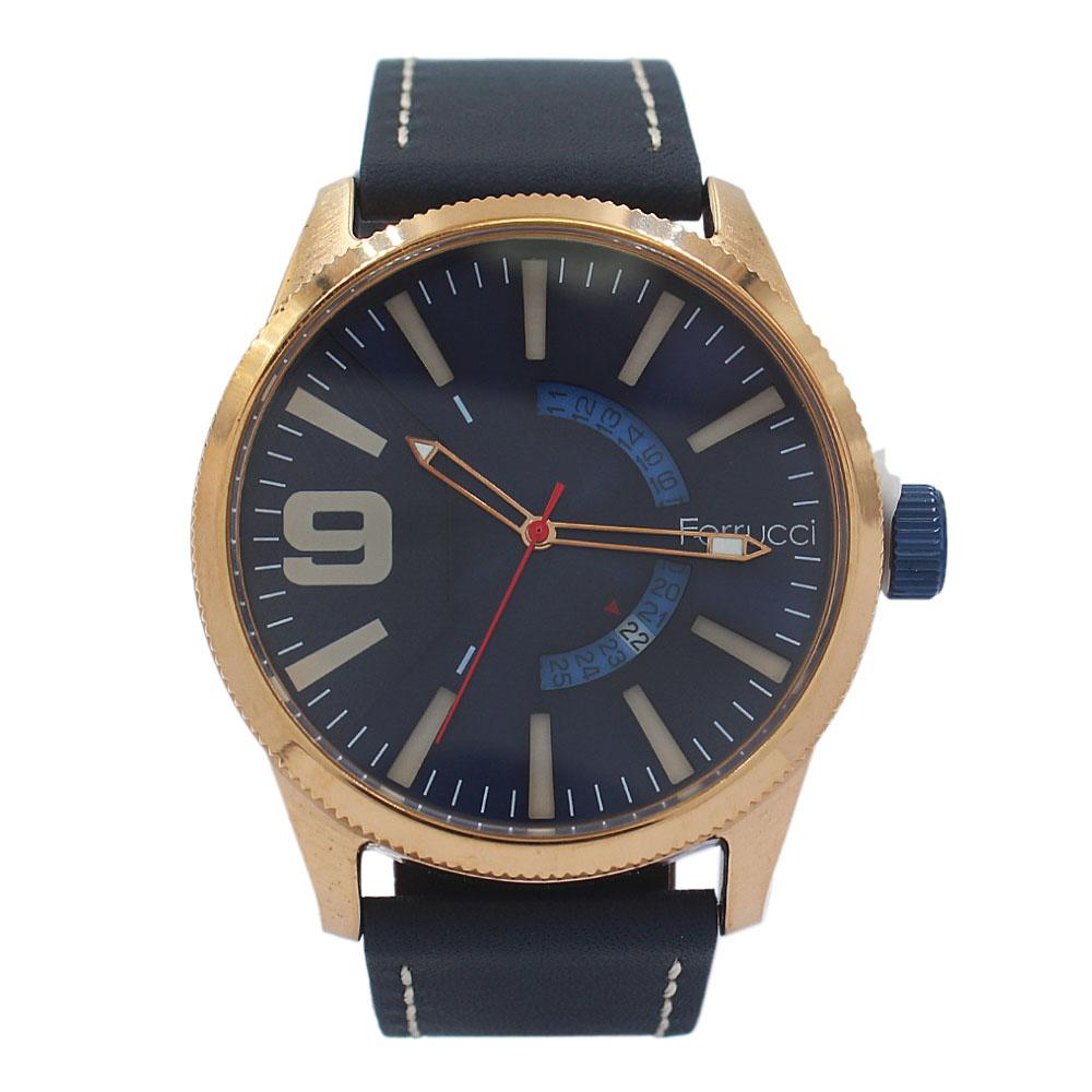 Ferrucci Etched Rose Gold Navy Leather Watch