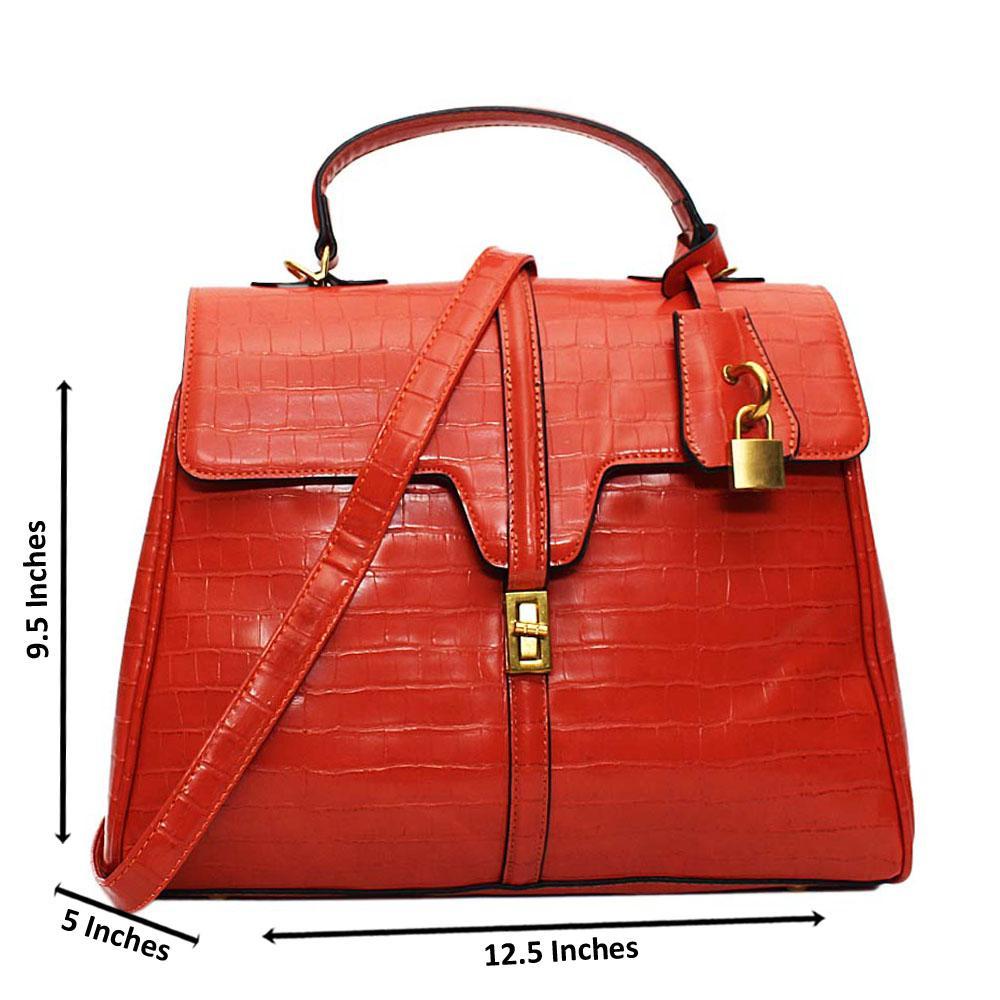 Peach Azalea Croc Leather Medium Top Handle Handbag