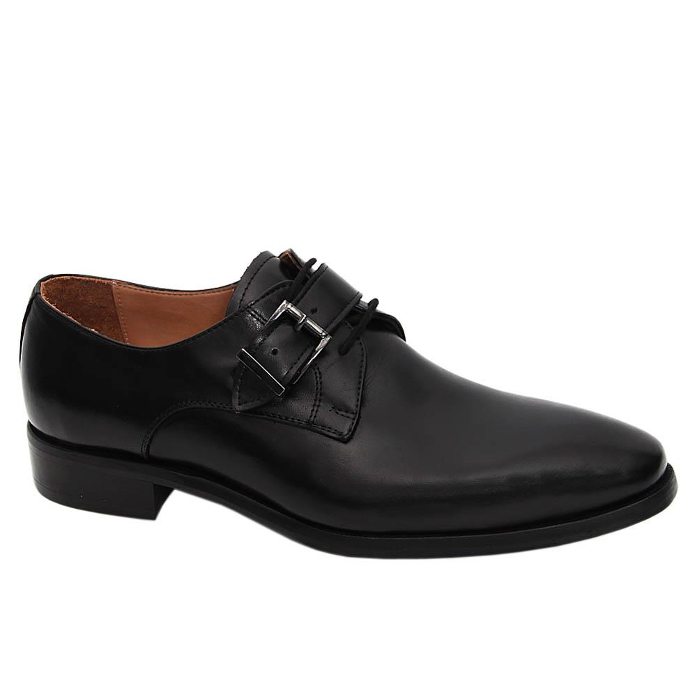 Black Celio Italian Leather Lace-up Monk Shoe