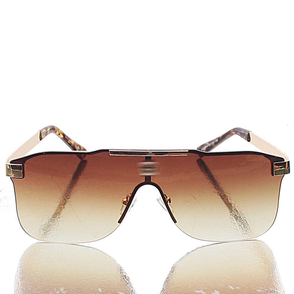 Gold Shield Brown Lens Sunglasses