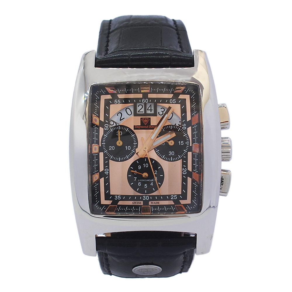 DR 5ATM Silver Black Leather Chronograph Watch