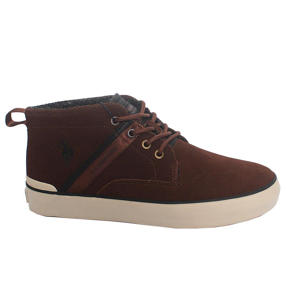 Coffee Tyrell Suede Leather Ankle Sneakers