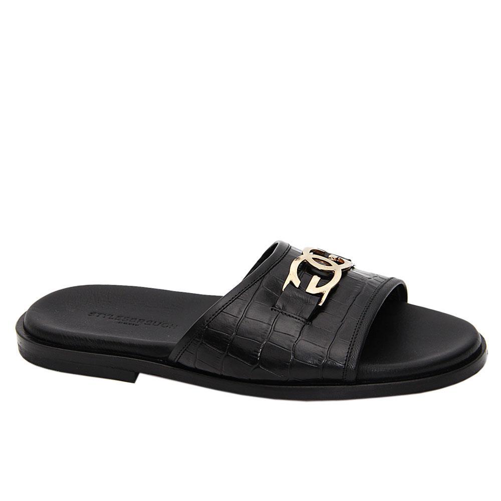 Black Cesarino Italian Leather Slippers