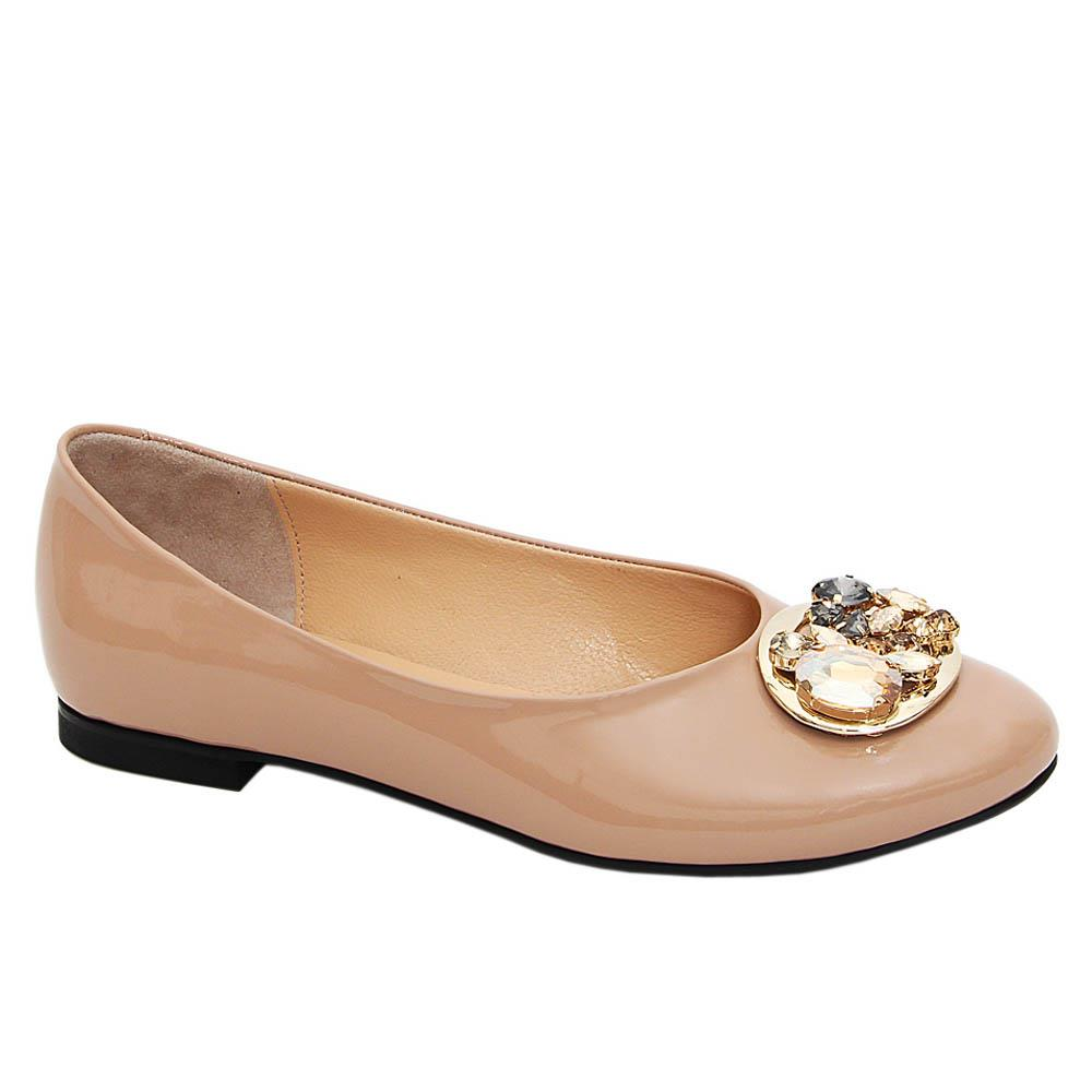 Beige Estella Crystals Patent Tuscany Leather Flat Pumps