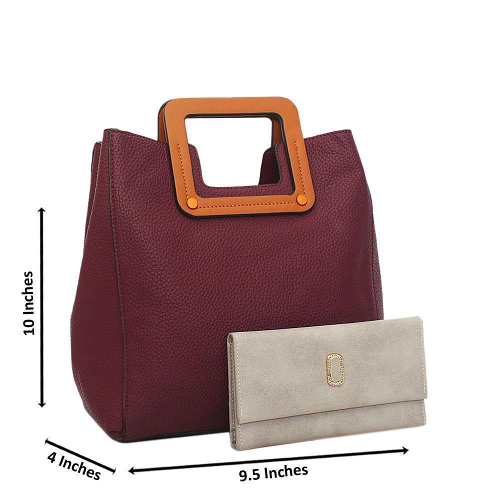 Wine Miane Tandy Leather Small Top Handle Handbag Wt Free Purse