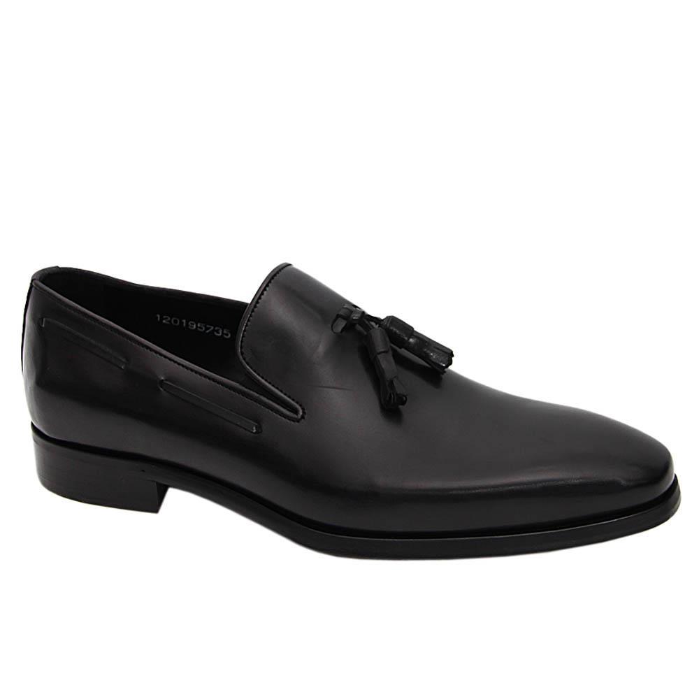 Black Jaxon Italian Leather Tassel Loafers