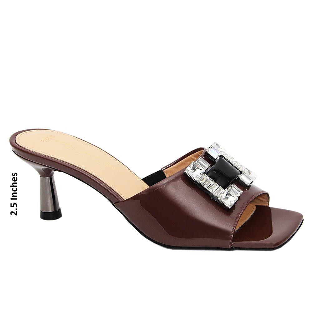 Coffee Crystals Patent Tuscany Leather Mid Heel Mule