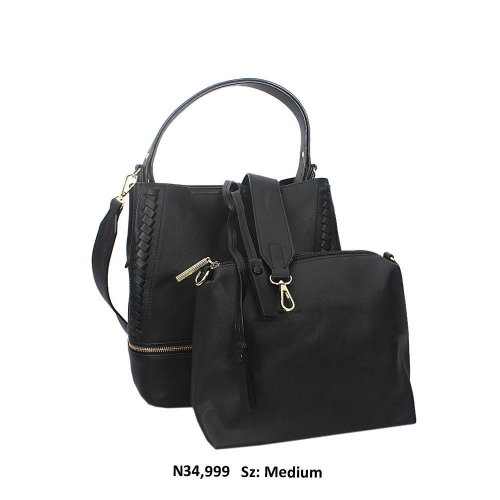 Black Aly Leather Shoulder Handbag