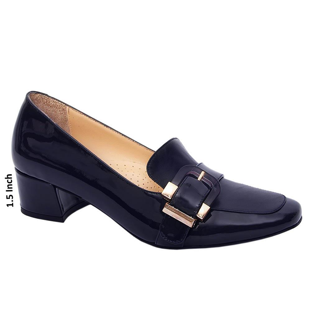 Dark Navy Avery Patent Tuscany Leather Mid Heel Pumps