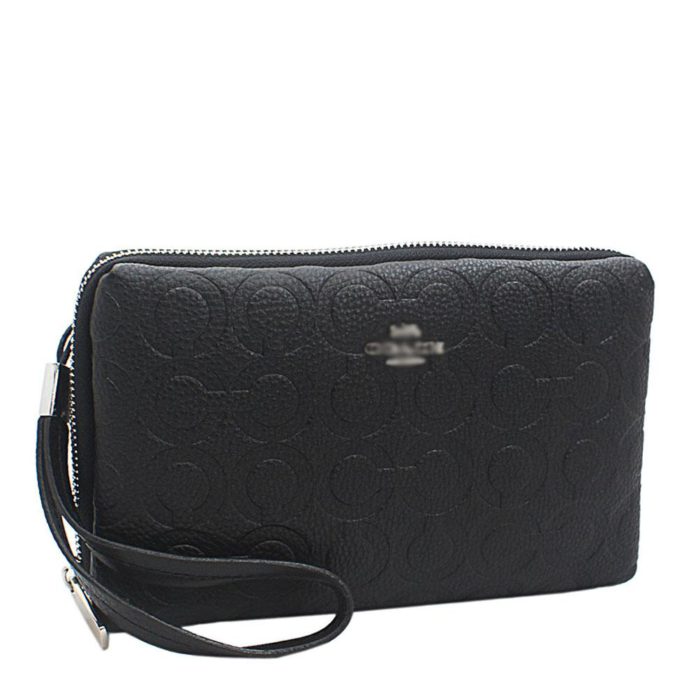 Black Embossed Leather 2 Way Man Purse