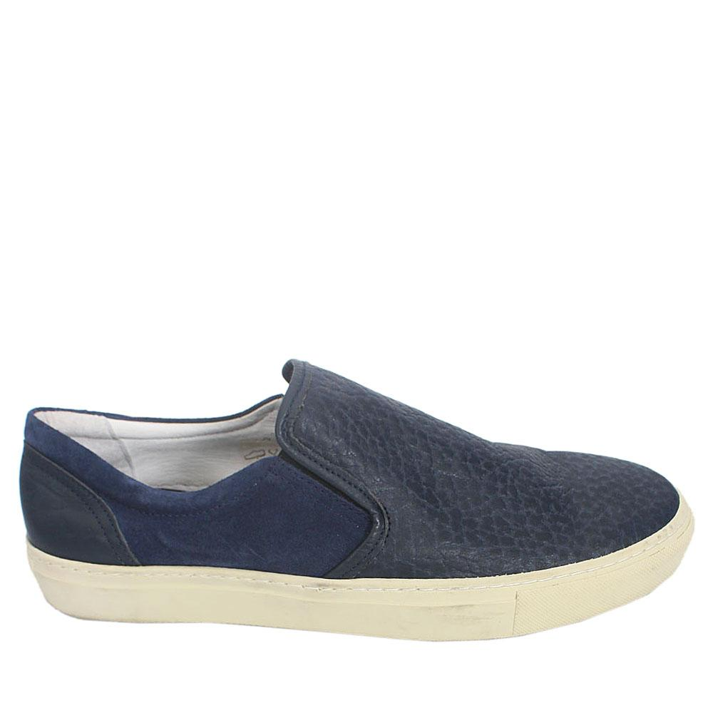 Kurt Geiger Navy White Leather Comfort Fit Men Sneakers