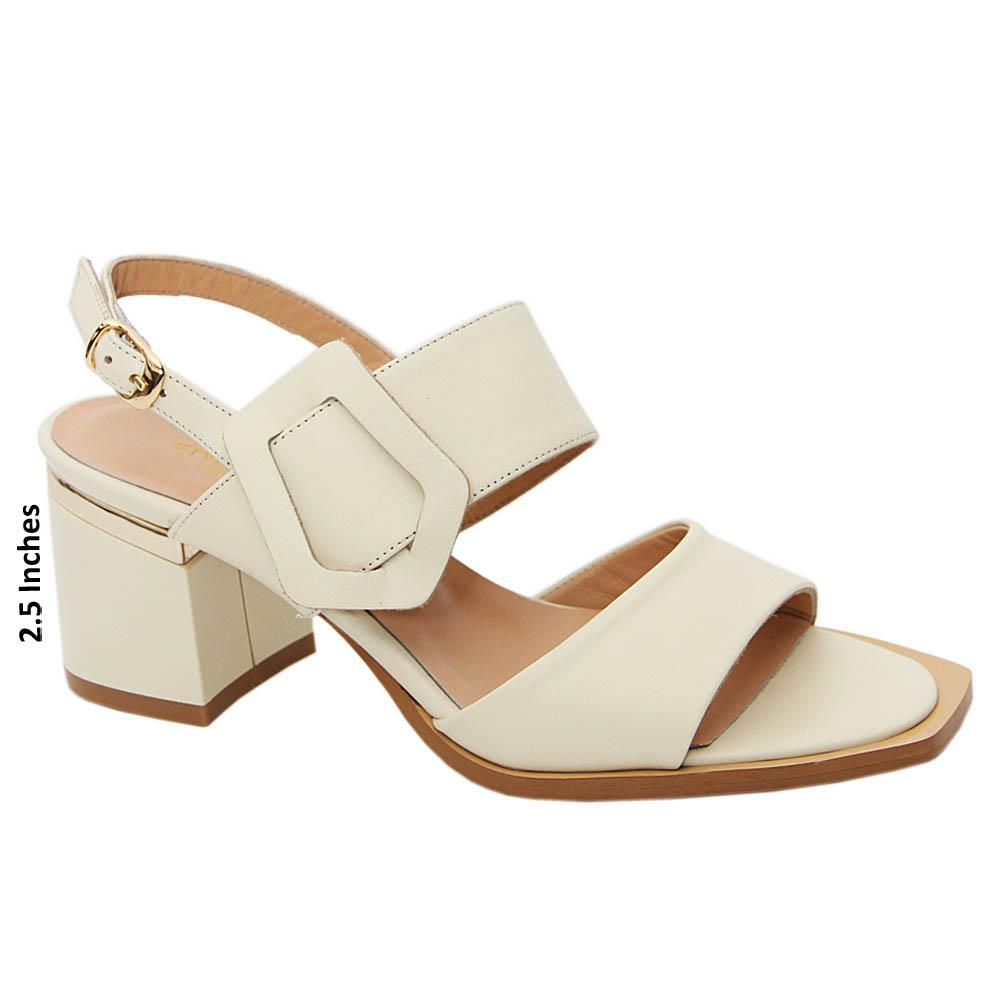 Cream Whitney Tuscany Leather Mid Heel Sandals