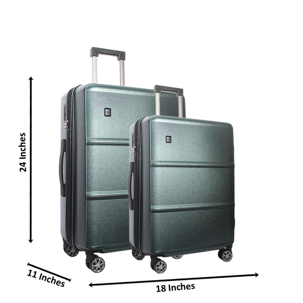 Green 24 Inch wt 20 Inch 2 in 1 Premium Shell Luggage Set Wt TSA Lock