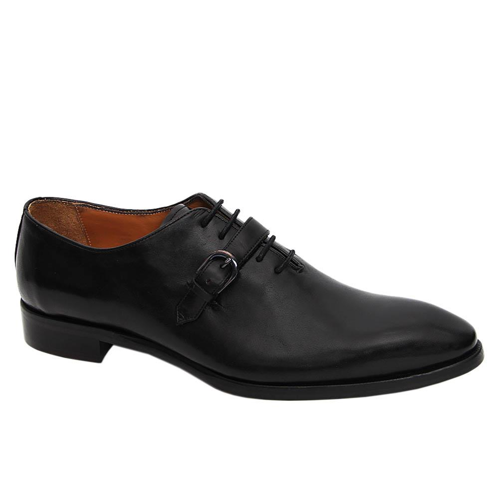 Black Eulalio Italian Leather Lace-up Monk Shoe