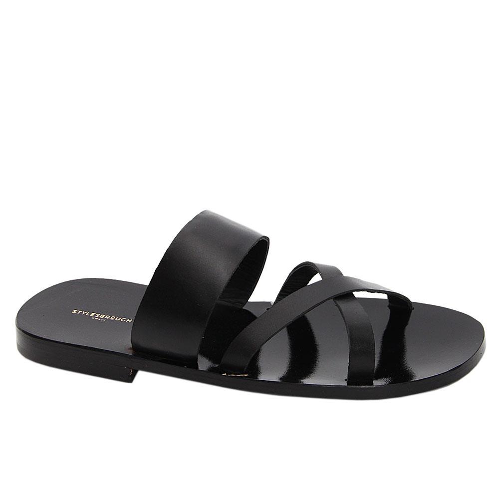 Black Battista Italian Leather Slippers