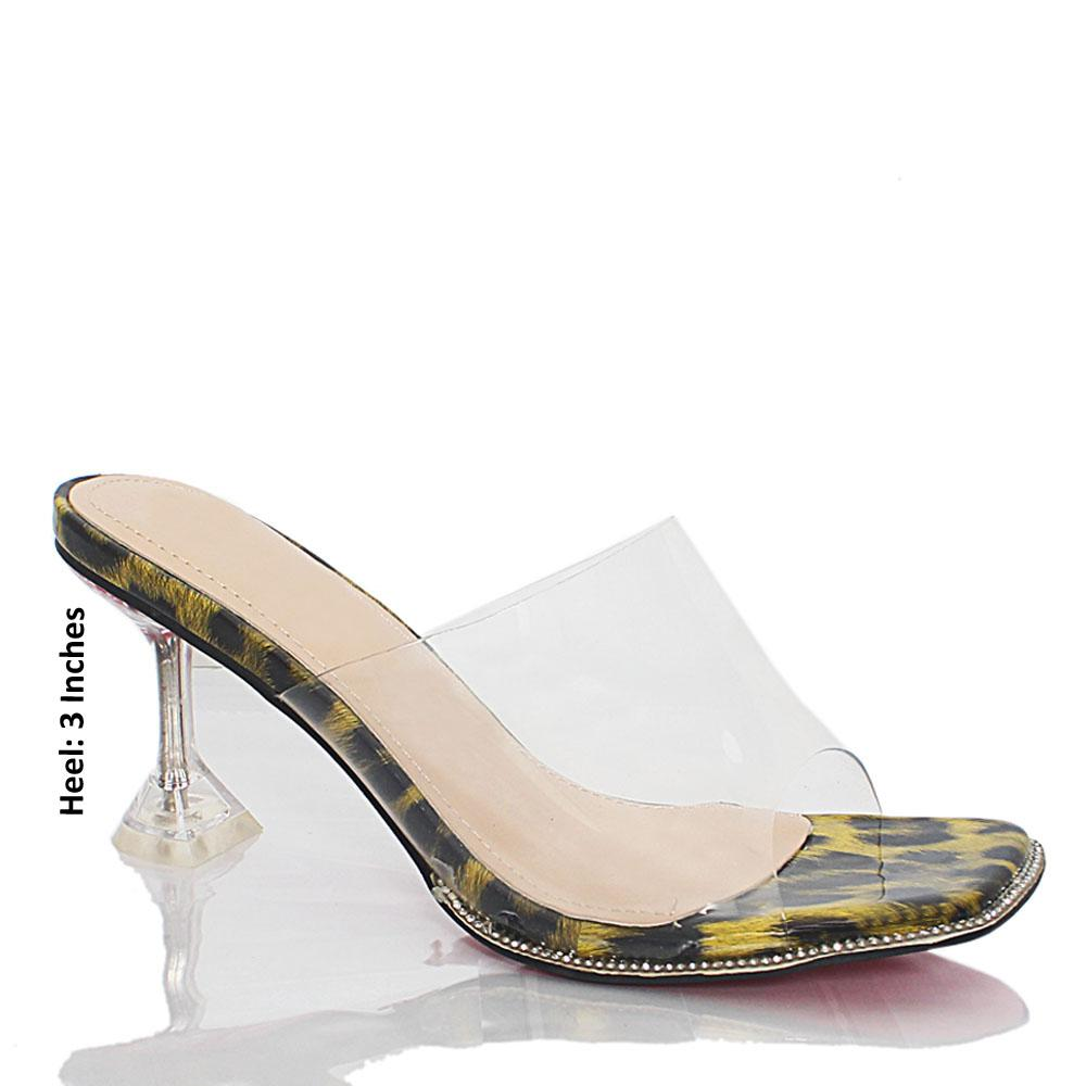 Yellow Black Crystals Studded Transparent Rubber Leather Mules