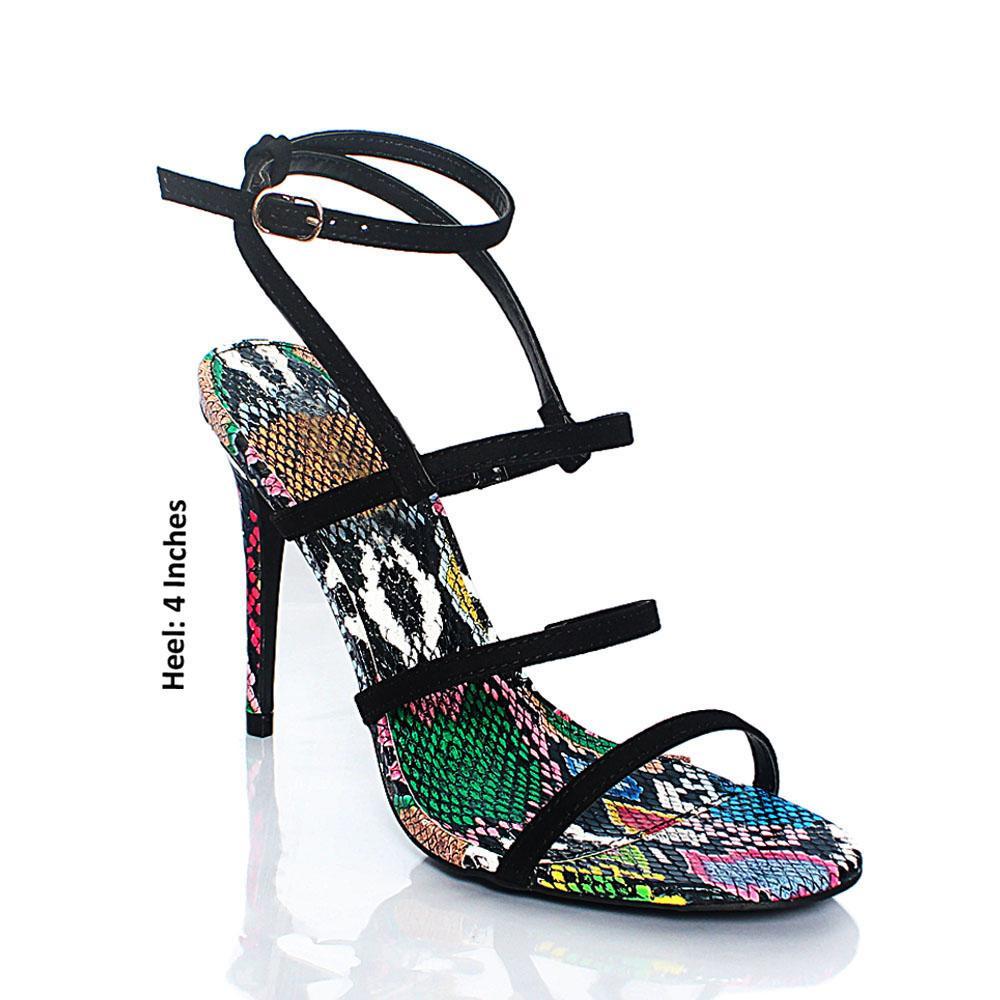 Black Suede Snake Leather AM High Heels