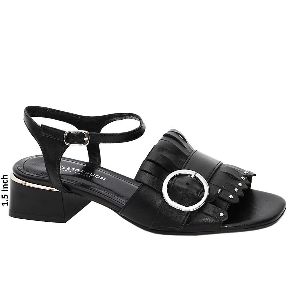 Black Andrea Tuscany Leather Low Heel Sandals