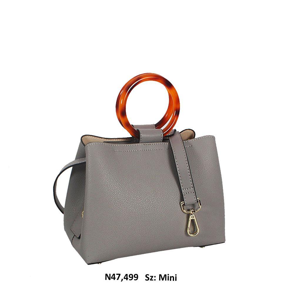 Ivy Gray Cowhide Leather Ceramics Handle Mini Tote Handbag