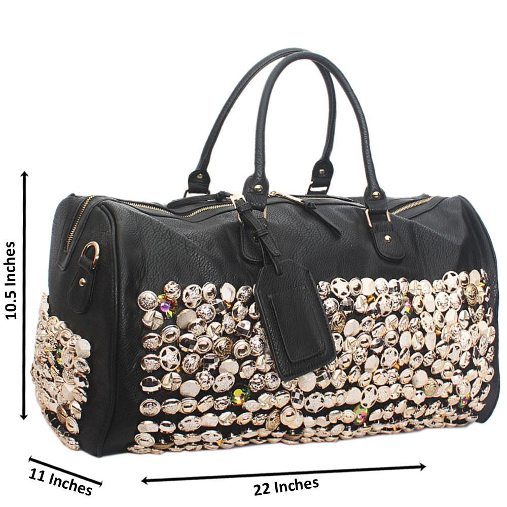 Black Leather Rock Star Studded Boston Bag