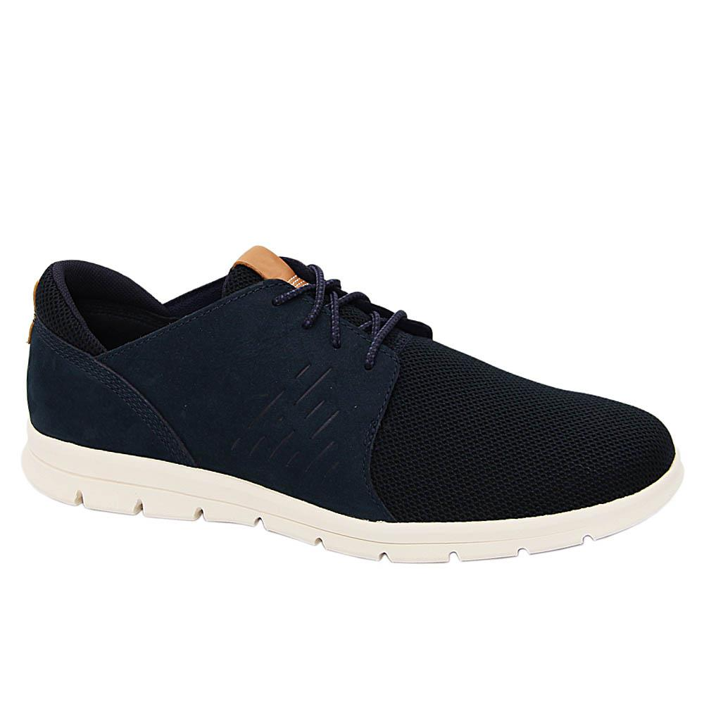 Navy Quincy Knit Fabric Leather Sneakers