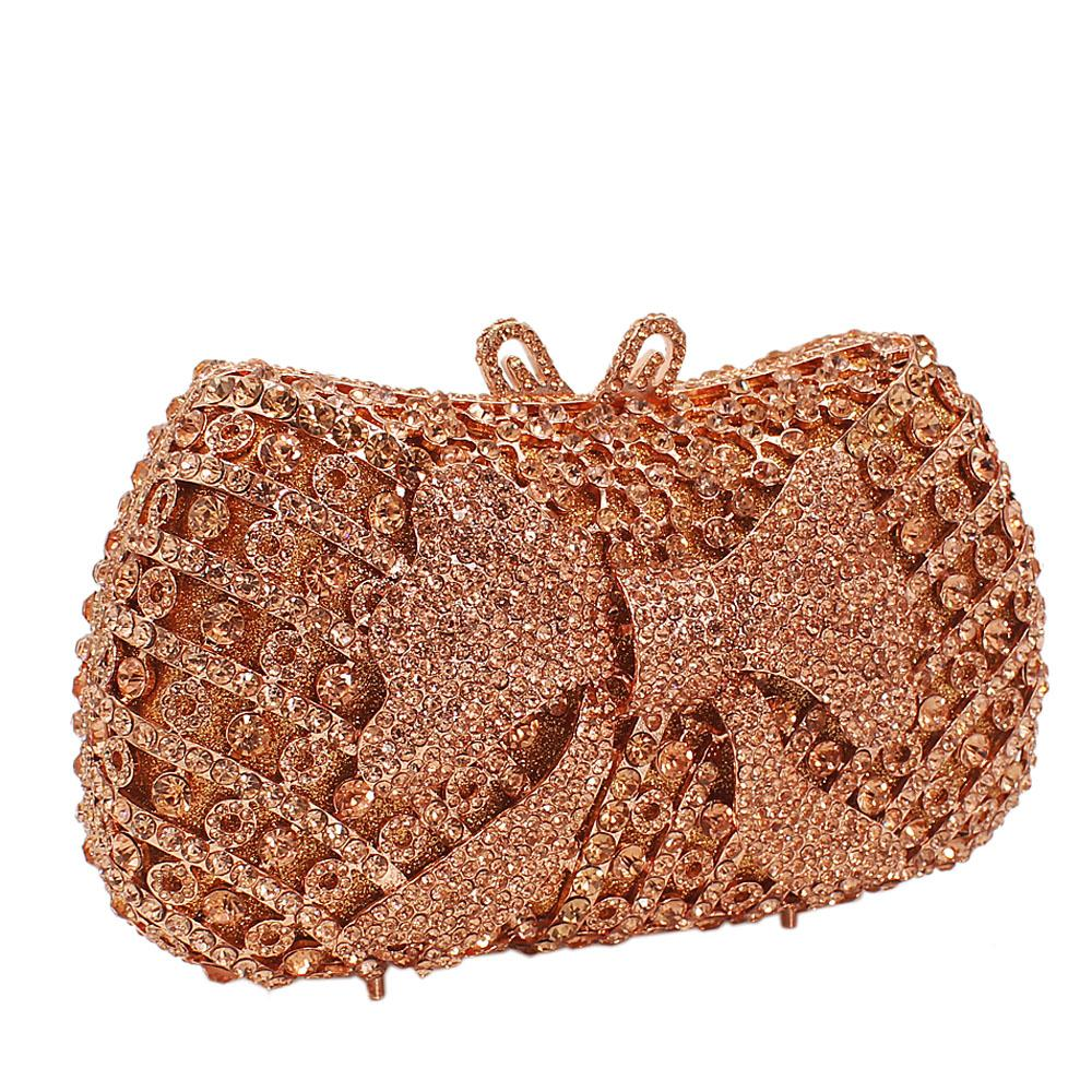 Gold Bow Diamante Crystals Clutch Purse