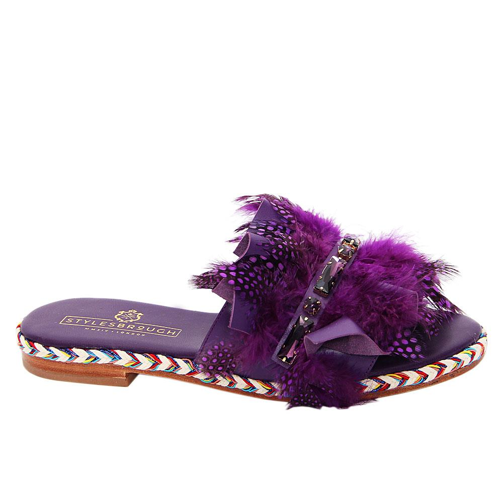 Purple Leticia Italian Leather Low Heel Slippers