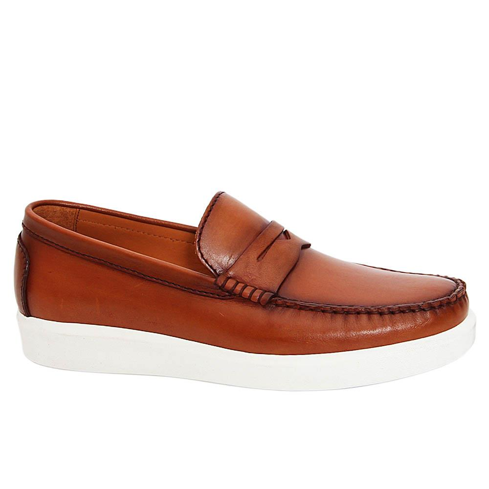 Brown Chris Italian Leather Slip On Loafers