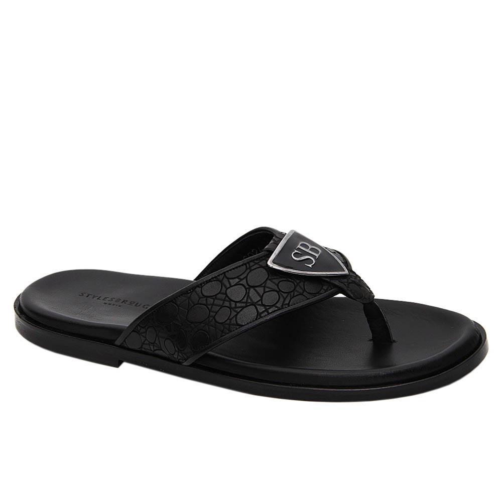 Black Maurizio Italian Leather Slippers