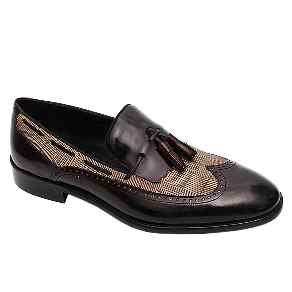 Burgundy Adriano Plaid Italian Patent Leather Tassel Loafers
