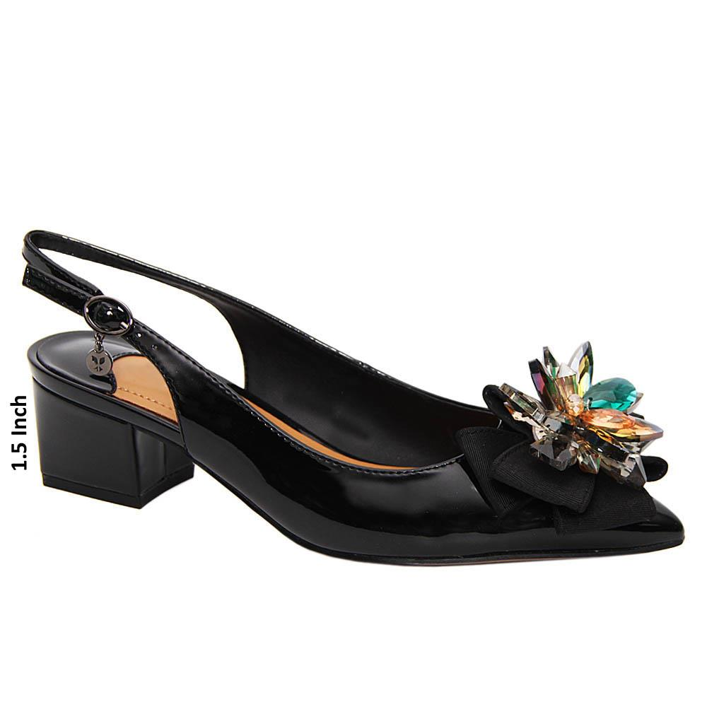 Black Willow Patent Leather Low Heel Slingback Pumps