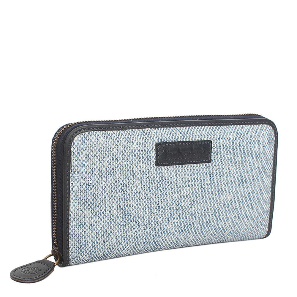 Blue White Leather Zip Around Ladies Wallet