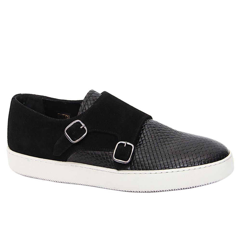 Black Zanobi Italian Suede Leather Monk Strap Sneakers