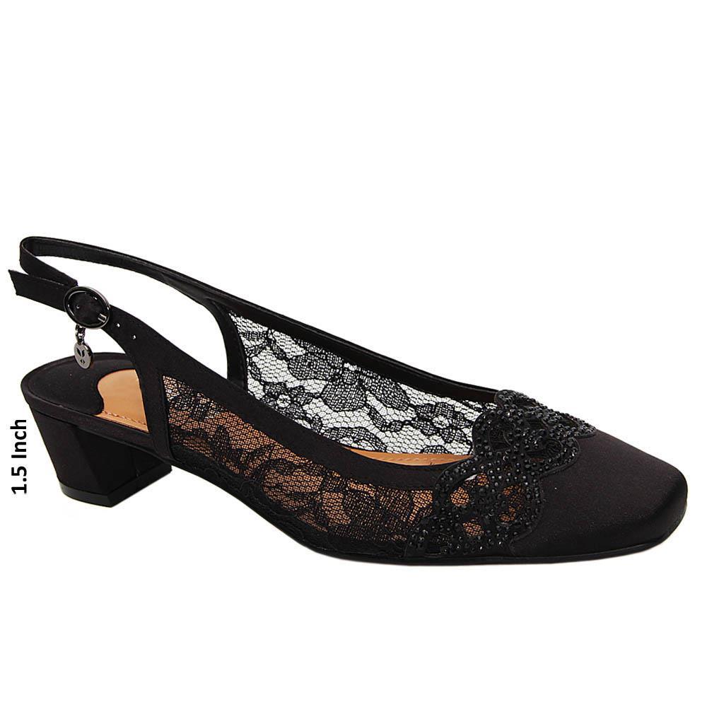 Black Annika Satin Fabric Low Heel Slingback Pumps