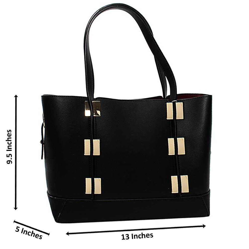 Black Mariella Leather Medium Tote Handbag