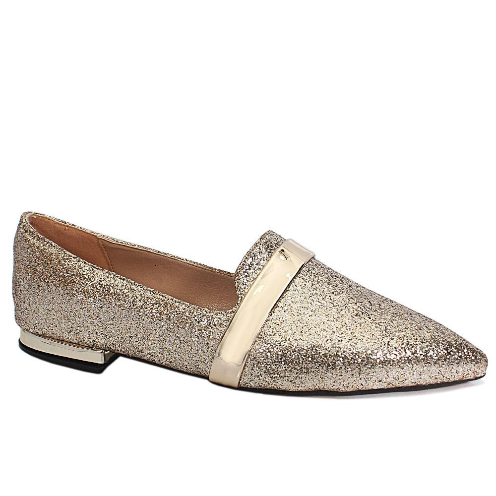 Alba Gold Shimmering Leather Pointed Toe Flat Shoes