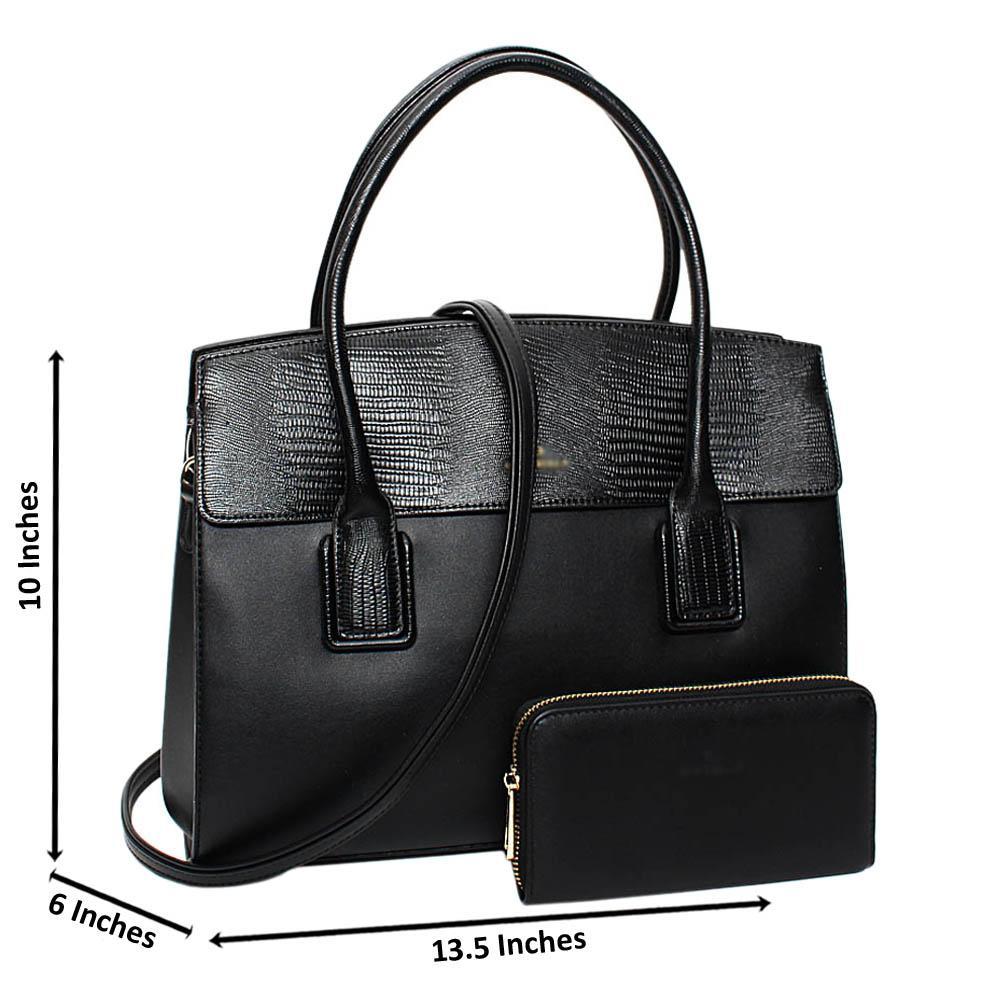 Black Vanessa Mix Snake Leather Medium Tote Handbag