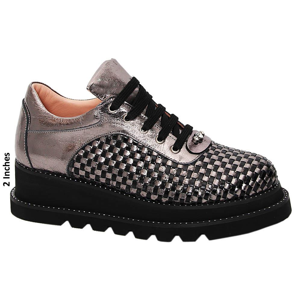 Metallic Gray Morena Woven Tuscany Leather Ladies Sneakers