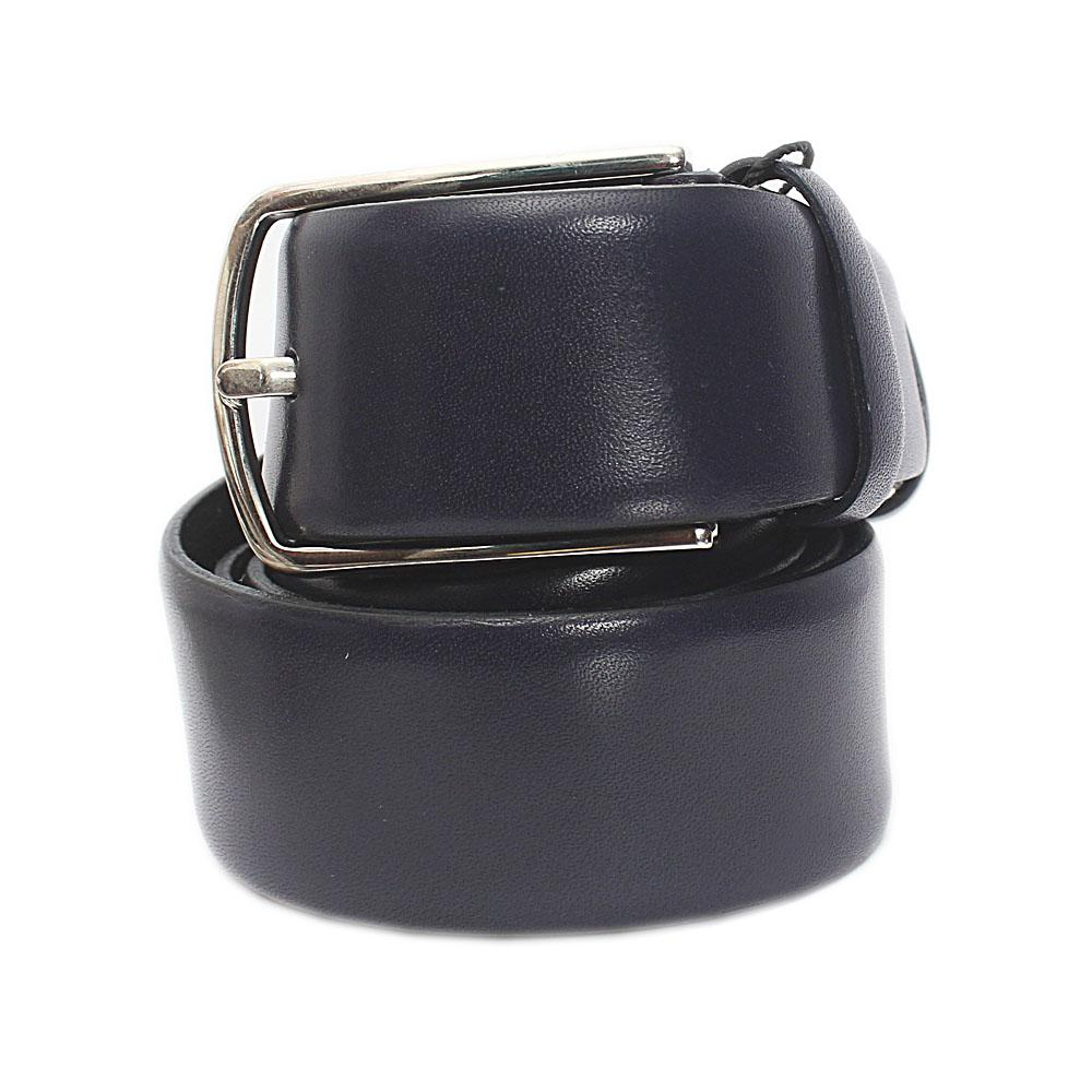 Navy Blue Italian Leather Flat Belt L 43 Inches