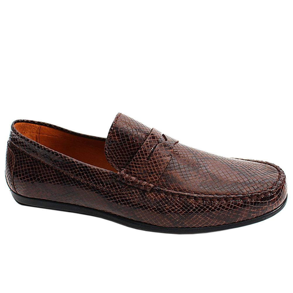 Coffee Milano Patent Italian Leather Men Drivers Shoes