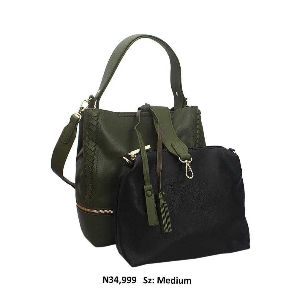 Dark Green Aly Leather Shoulder Handbag