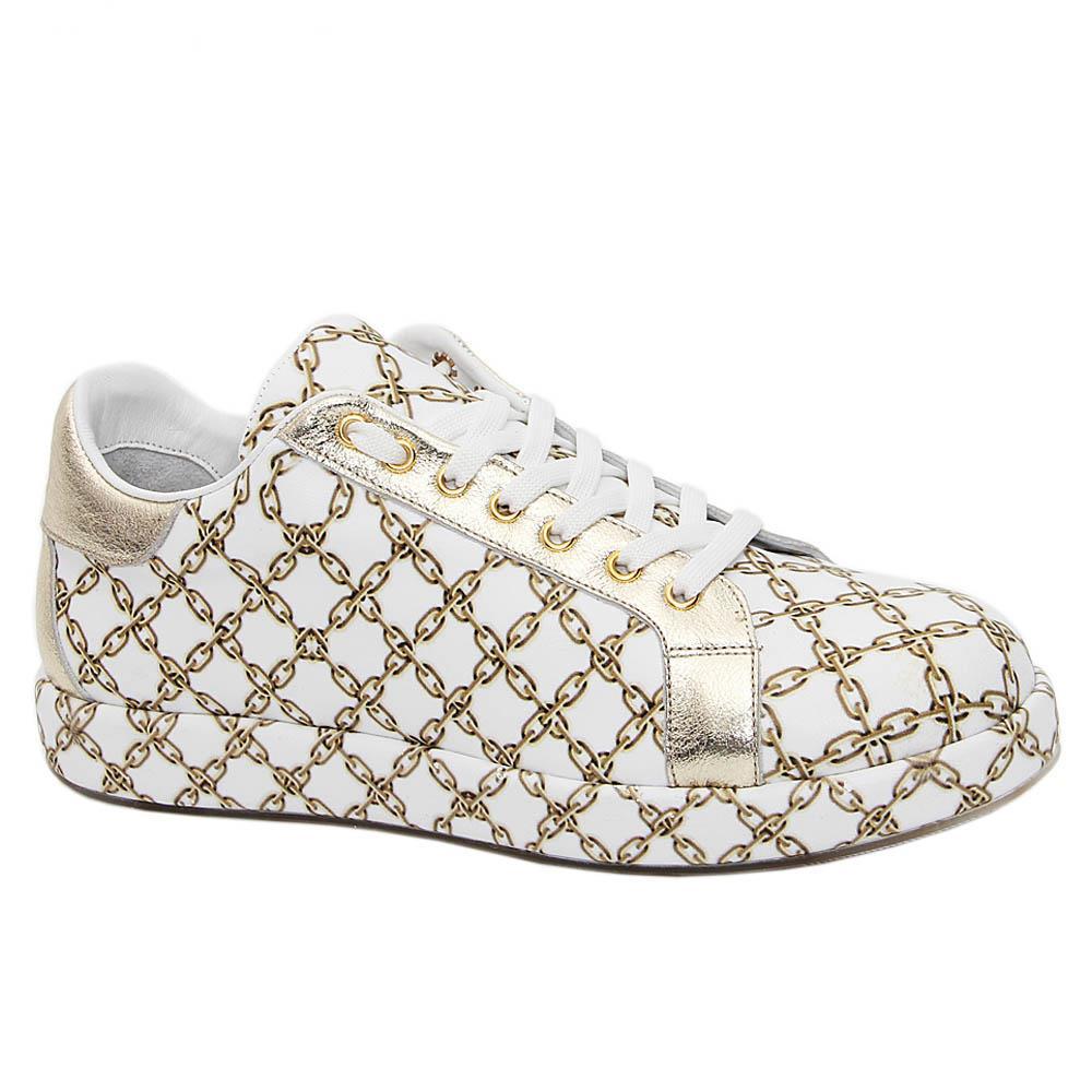White Jordan Graphic Print Italian Leather Unisex Sneakers