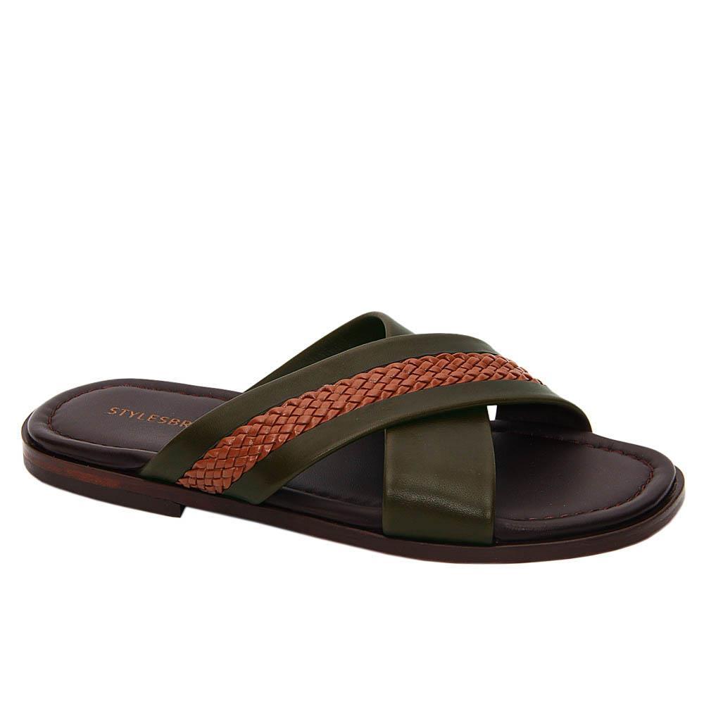 Brown Desert Green Omar Italian Soft Leather Slippers