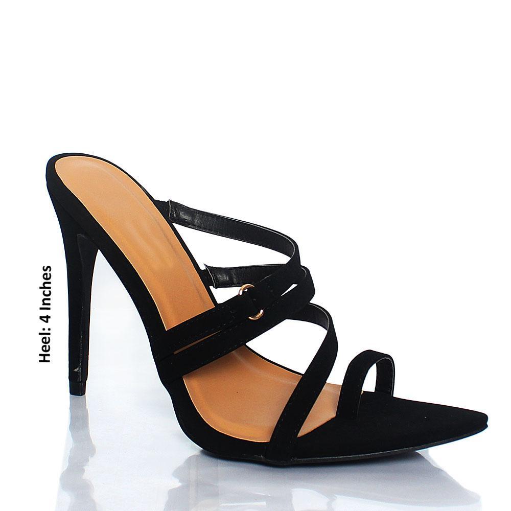 Black AM Florence Toe Grip Leather High Heel Mule